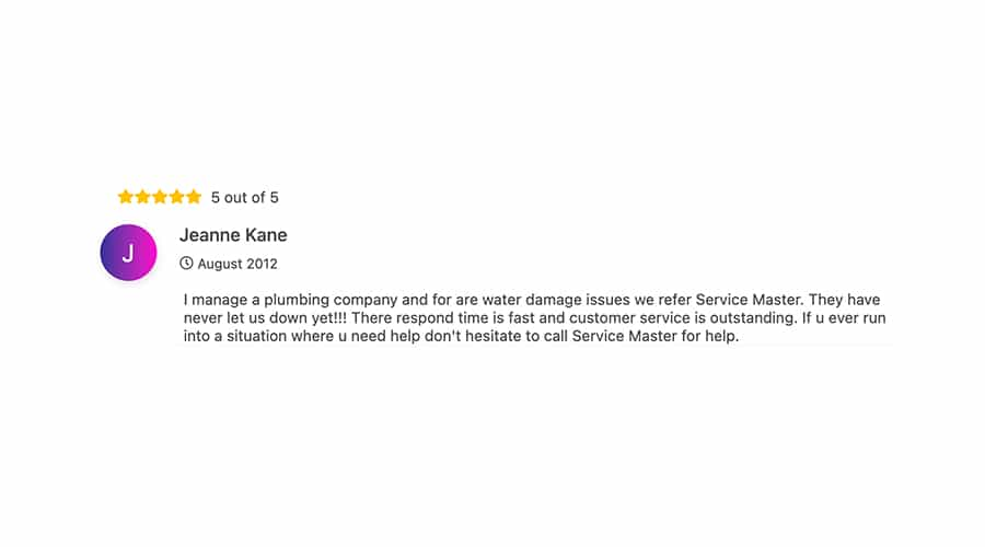 Customer Review of ServiceMaster by Reed